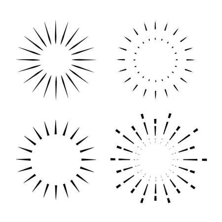 set of Vintage sunburst, light rays, firework sparks vector design element vector template 写真素材 - 166426104