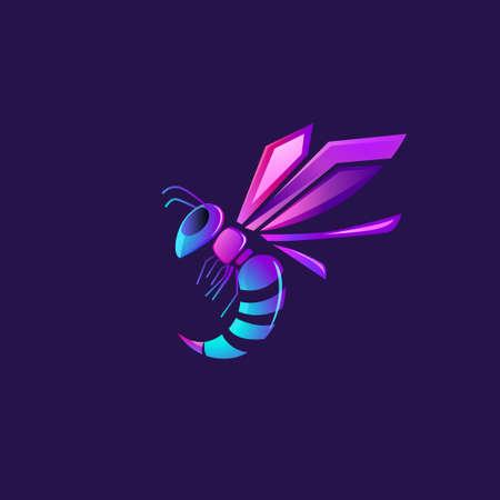 Modern and Futuristic Wasp Logo Illustration.
