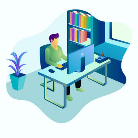 illustration of young man working with computer Vecteurs