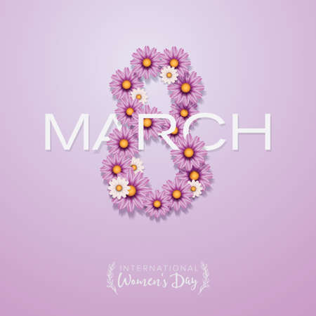 International Women's Day poster, banner, flyer. 8 March shaped from flowers 写真素材 - 166426115