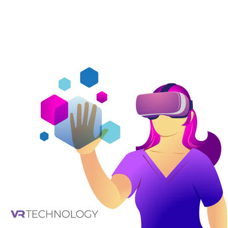 Vector illustration of female wearing VR goggle, Virtual Reality Technologies 写真素材 - 166417881