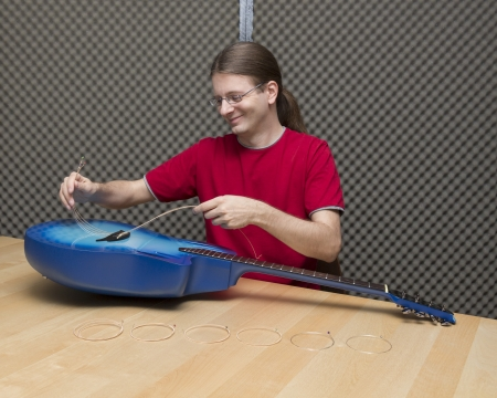 e guitar: Guitarist pulling the old strings of a guitar out   Series with the same model available