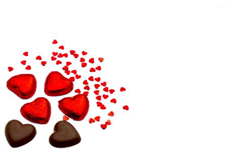 Heart-shaped chocolate pieces for love Valentine