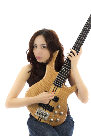 Young woman holding her bass guitar  Series with the same model available  photo