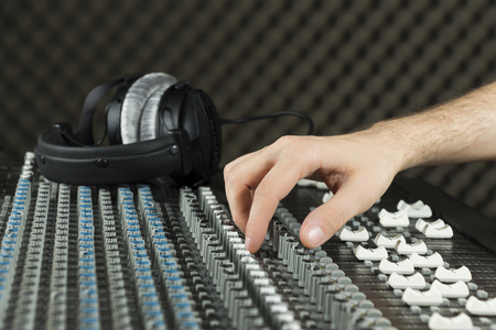 Recording on a studio mixer (Series available photo