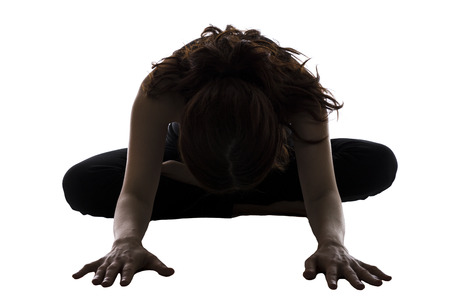 30 34 years: Woman is doing Bound Angle Pose in Yoga  Stock Photo