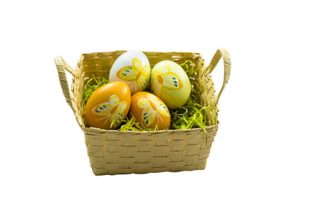 colorfully: Colorfully painted easter eggs in a basket  Stock Photo