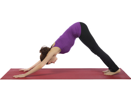 Young woman is doing downward facing dog pose in yoga  Standard-Bild