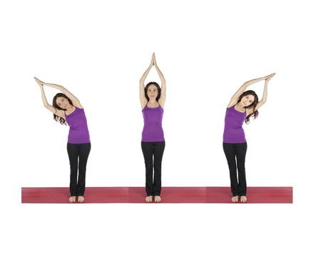 Woman doing moon yoga flow