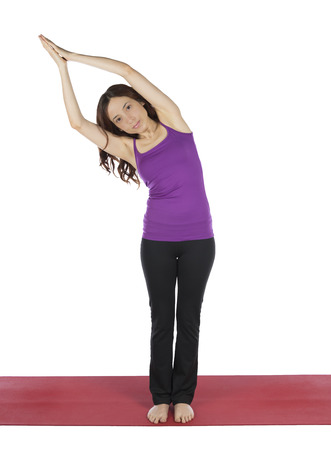 anjali: Young woman is doing Anjali Mudra pose in yoga  Stock Photo