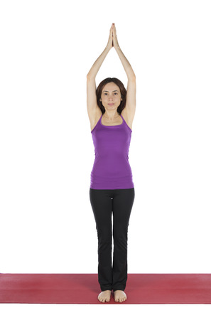 anjali: Young woman is doing Prayer Pose in Yoga  Stock Photo
