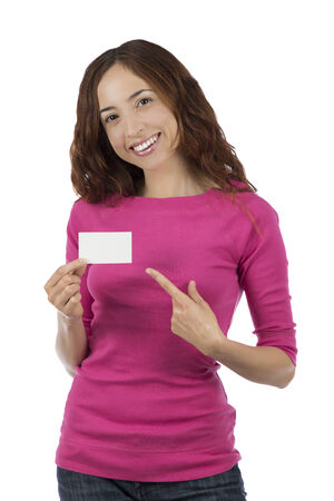 Caucasian woman is holding and showing an empty sign card photo