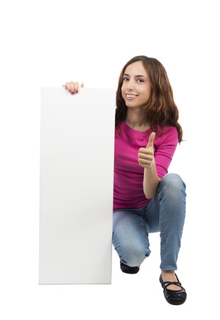 Woman is holding an advertisement billboard with thumb up photo
