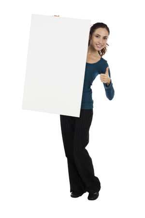 Attractive young caucasian woman is holding an advertisement poster photo