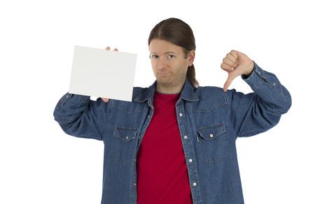 pollice in gi: L'uomo sta mostrando la sua la sua disapprovazione con il pollice verso il basso