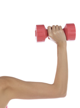 Woman arm lifting weight photo