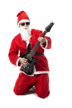e guitar: Santa Claus playing an e-guitar