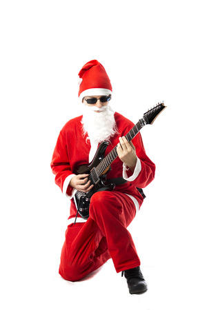 e guitar: Santa Claus playing a black electric guitar