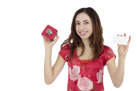 Valentines day woman with a gift card photo