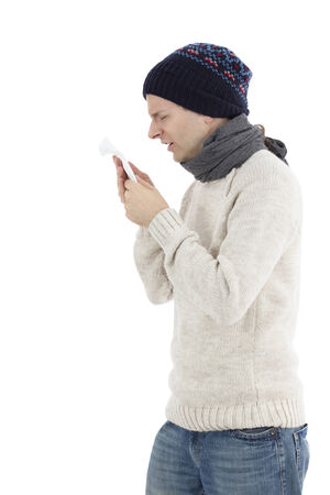 running nose: Adult man sneezing