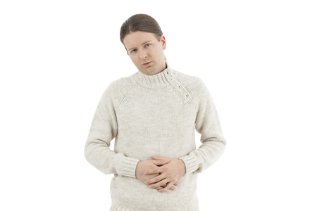 irritable bowel syndrome: Man suffering from ulcer Stock Photo
