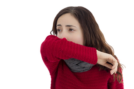 Sick flu woman coughing Standard-Bild