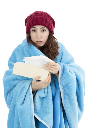 Sick woman feeling cold