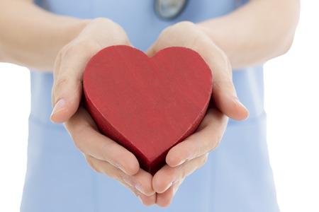 organ donation: Doctor or nurse holding heart Stock Photo