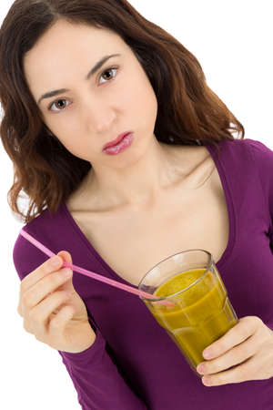 Woman not happy about her green smoothie photo
