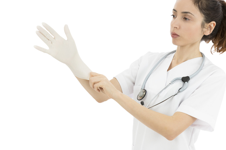 surgical gloves: Female doctor wearing surgical gloves