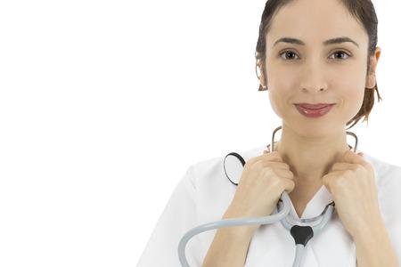 Friendly female doctor smiling, portrait photo