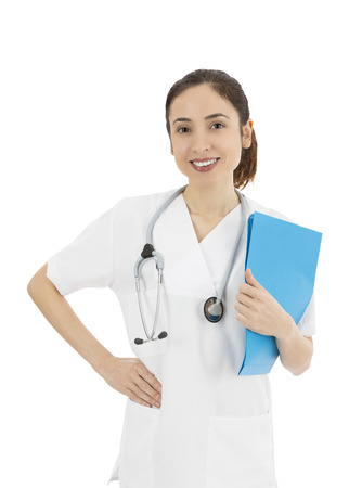 Female medical doctor standing with a folder in her hand, portrait photo