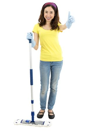woman thumbs up: Spring cleaning woman thumbs up Stock Photo