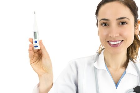 digital thermometer: Female doctor showing a digital thermometer Stock Photo