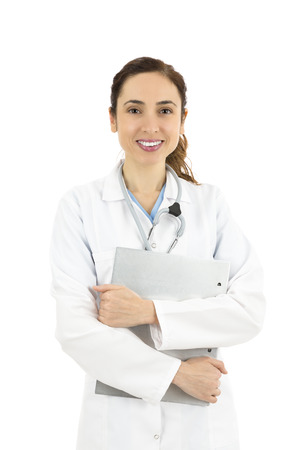 clinical staff: Friendly hospital worker standing with a clipboard in her hands. Isolated on white background