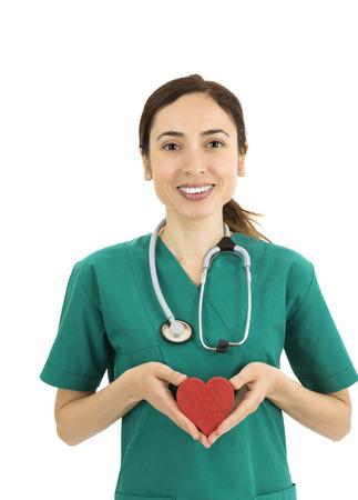 nurses: Doctor or nurse holding a heart Stock Photo