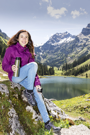 attracive: Hiker woman during a break Stock Photo