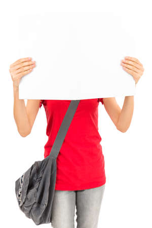 advertising board: Student showing advertising board Stock Photo