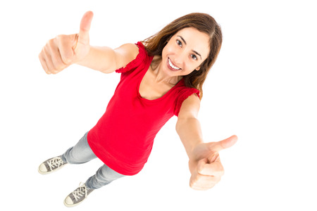 femme pouce leve: Woman thumbs up full body