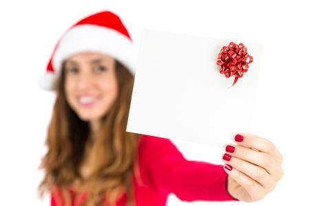 gift card: Christmas gift card presented by santa woman