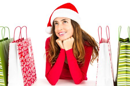 daydreaming: Christmas shopping woman daydreaming
