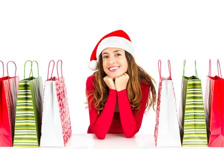 happy christmas: Happy christmas shopping woman Stock Photo