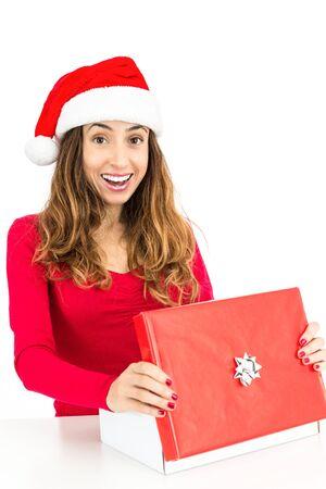 opening gift: Christmas woman opening gift box