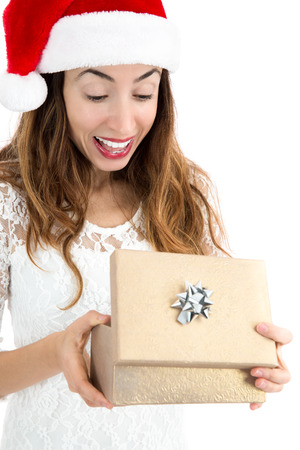 Woman surprised about her christmas gift 免版税图像 - 48135115