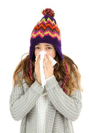 sneezing: Flu woman sneezing