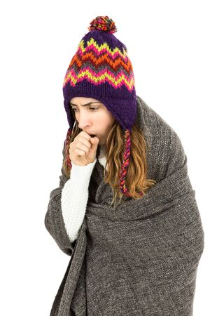 coughing: Woman coughing and has cold Stock Photo