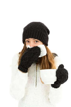 cold and flu: Flu woman having tea