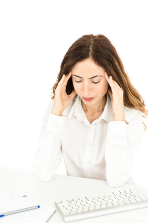muscle spasm: Business woman with headache