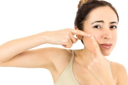 beautycare: Woman with skin problem