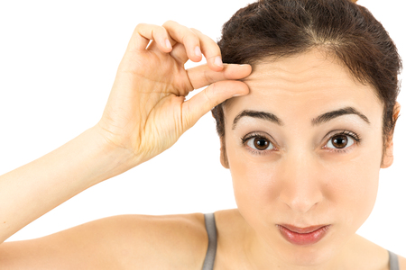 aging face: Wrinkle on forehead